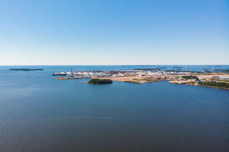 Aerial panoramic summer view of island Mussalo in Baltic Sea, Kotka, Finland