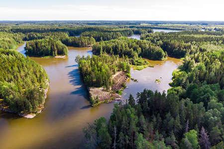 Aerial summer view of rapid Ahvionkoski at river Kymijoki, Finland.