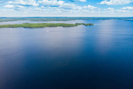 Aerial view of lake Paijanne, Paijanne National Park, Finland.