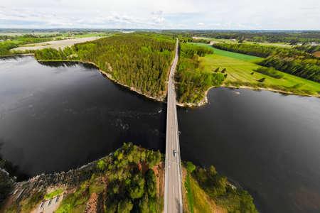 Aerial panoramic view of rapid Susikoski at river Kymijoki, Finland.