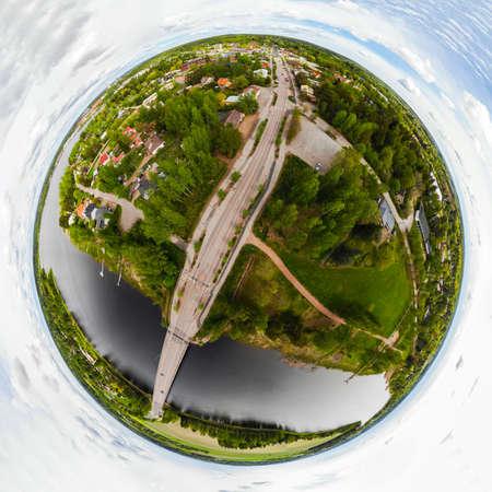 A three dimensional aerial panoramic view of city Inkeroinen at river Kymijoki, Finland.