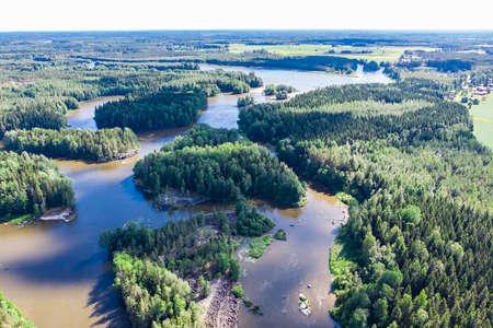 Aerial panoramic summer view of rapid Ahvionkoski at river Kymijoki, Finland.