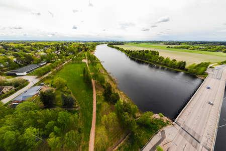 Aerial panoramic view of city Inkeroinen at river Kymijoki, Finland.