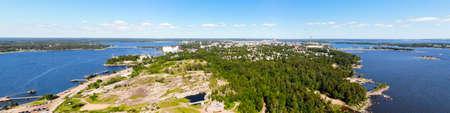 Aerial panoramic view of island Kotkansaari in Kotka, Finland