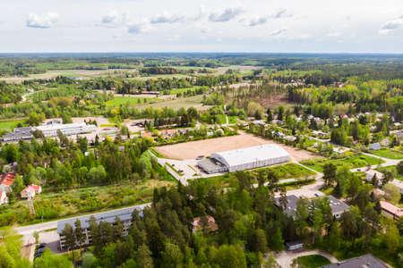 Aerial panoramic view of city Inkeroinen in Finland. 版權商用圖片