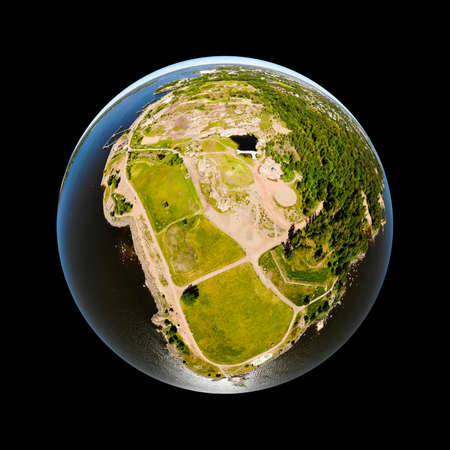 A three dimensional panoramic aerial view of Katariina Seaside Park in a mini planet panorama style., Kotka, Finland. Stock fotó