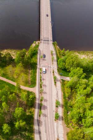 Aerial panoramic view of bridge in city Inkeroinen at river Kymijoki, Finland.