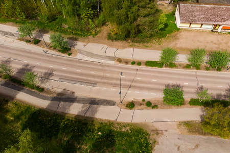 Aerial panoramic view of road in city Inkeroinen in Finland.