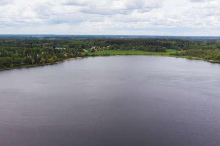 Aerial panoramic view of river Kymijoki at city Inkeroinen, Finland