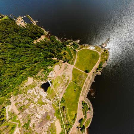 Aerial summer view of Katariina Seaside Park, Kotka, Finland