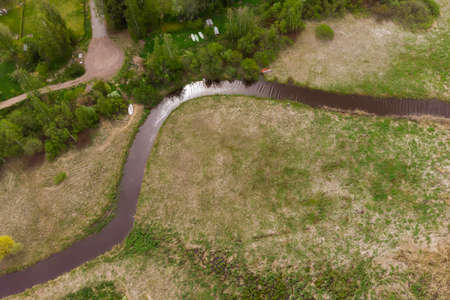 Aerial panoramic view of small river city Inkeroinen, Finland.