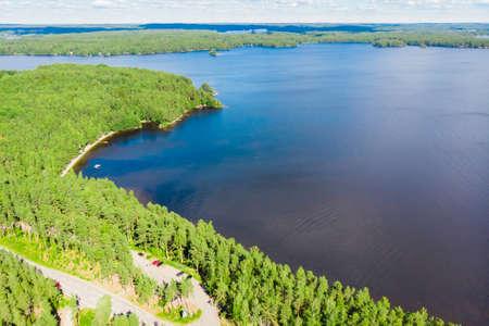 Aerial view of Pulkkilanharju Ridge on lake Paijanne, Paijanne National Park, Finland.