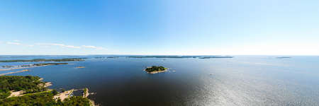 Aerial summer view of the Gulf of Finland, Baltic Sea, Kotka, Finland
