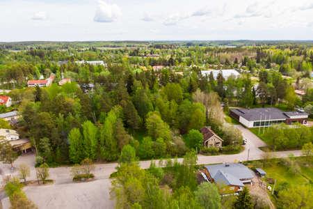 Aerial panoramic view of city Inkeroinen, Finland. 版權商用圖片