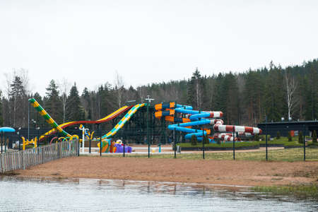 Kouvola, Finland - 3 May 2020: Empty aquapark Tykkimaki at spring