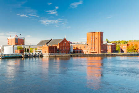 Kouvola, Finland - 15 September 2020: Old red brick buildings of Upm factory in Kuusankoski.
