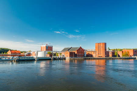 Kouvola, Finland - 15 September 2020: Old red brick buildings of Upm factory in Kuusankoski.