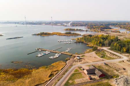 Aerial autumn view of Hamina city, Finland.
