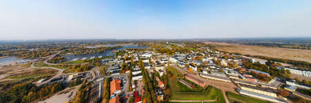 Aerial panoramic autumn view of old Hamina city, Finland.