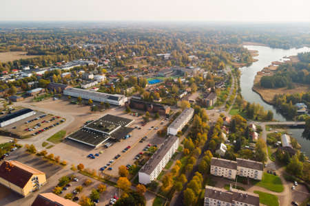 Aerial autumn view of old Hamina city, Finland.