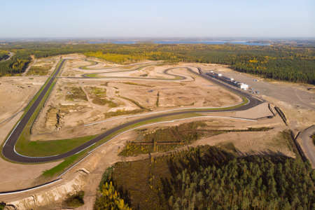 Aerial view of the race track in Finland 스톡 콘텐츠