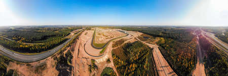 Aerial panoramic view of the race track in Finland 免版税图像