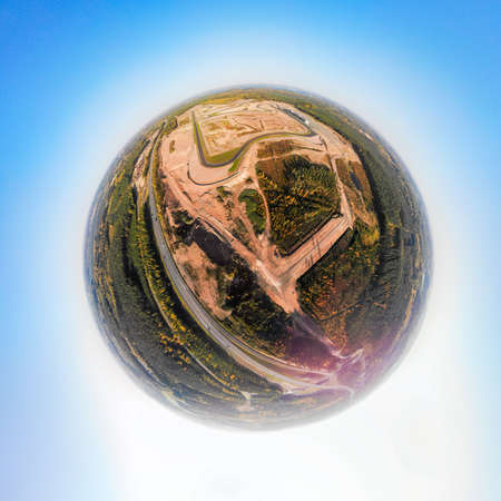 A three dimensional panoramic aerial view of the race track in Finland, in a mini planet panorama style.