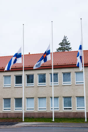Three finnish flags lowered to half mast on the occasion of mourning at cloudy autumn day 免版税图像