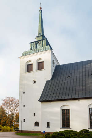 Beautiful white church of Valkeala in Kouvola, Finland