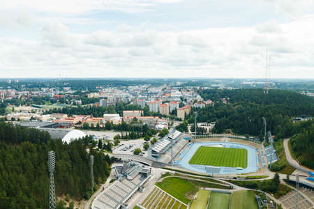 View to Lahti city and sports center from ski jump tower