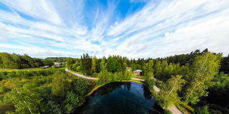 Panoramic aerial view of mystically turquoise colored spring Kiikunlahde in Hollola, Finland