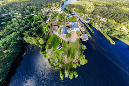 Panoramic aerial view of old village Verla in Finland 免版税图像