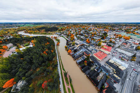 Porvoo, Finland - 2 October 2019: Panoramic aerial autumn view of old town of Porvoo, Finland.