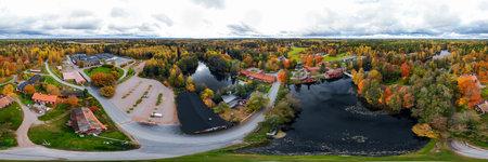 Panoramic aerial view of old village Ruotsinpyhtaa at autumn, Finland.