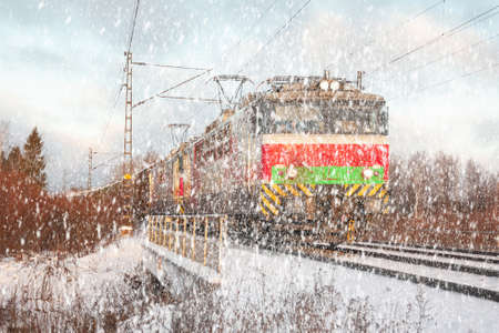 Cargo train at winter morning in Finland.