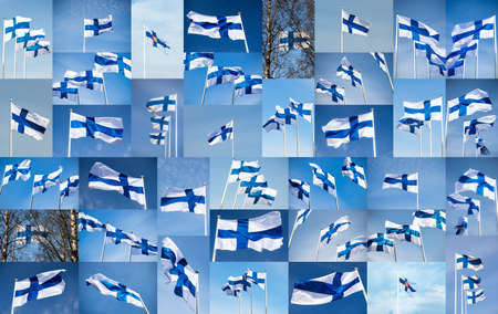 Collage with Finnish flags against blue sky. Full size.