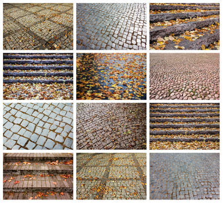 Collage with different pavement and stairs textures. Full size.