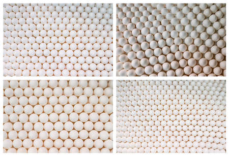 Collage of backgrounds of chicken white eggs in a rows, full size