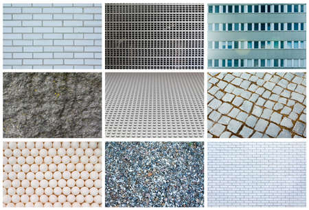 Collage of different gray textures, full size