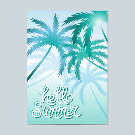 a3: Hello Summer. Typographic sea background with palm trees. Layout in A3 size. Illustration