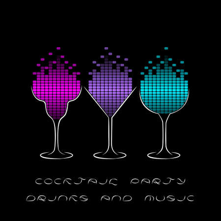 Cocktail Party Template With Glasses And Equalizer Musical Flyer Night Poster Or Club