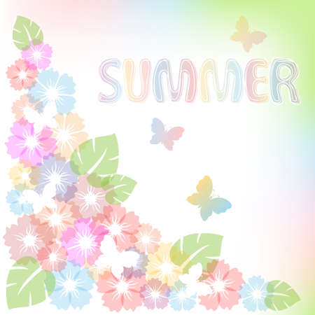 butterfly background: Pastel summer background with flowers and butterfly. Illustration
