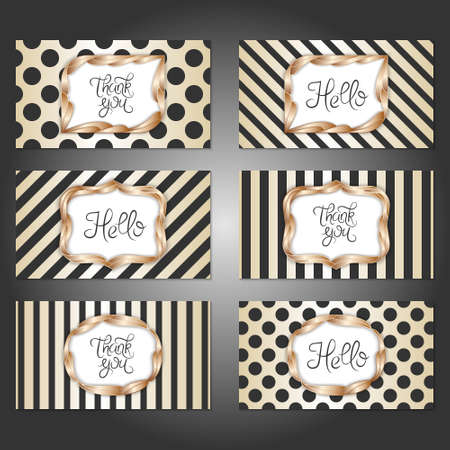 Collection of 6 vintage card templates in gold, black and white colors. For the wedding, marriage, save the date cards, invitations, greetings. Simple retro design with a gold frame.