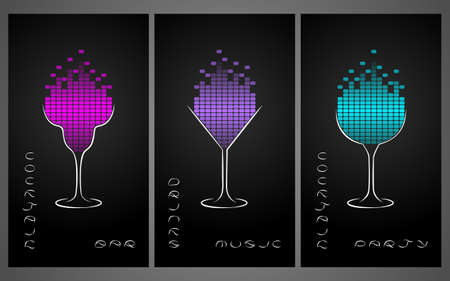 Collection of cocktail party poster, flyer, invitation or banner. Design template for cocktail bar business cards with glasses and equalize. Disco background. Illusztráció