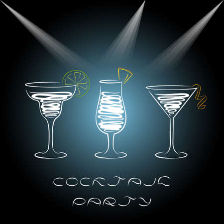 Design for cocktail party invitation with different cocktails. Illustration