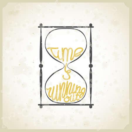 """cartel de la tipografía de la vendimia con el reloj de arena y con la inscripción """"el tiempo se acaba"""""""