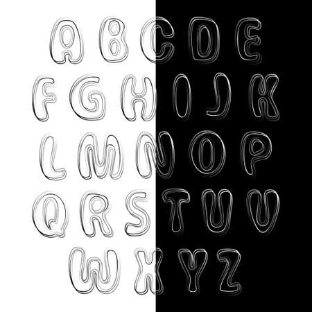 paper spell: Black and white letters for use on white or black background. Alphabet for your Design Illustration