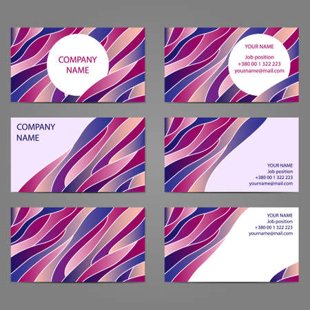 sides: Set 5 of 3 horizontal business cards with 2 sides.