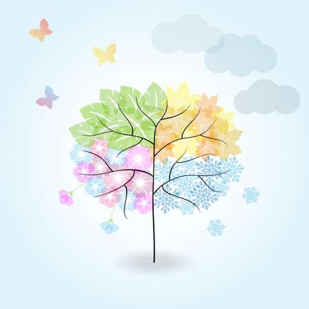 Árbol de cuatro estaciones: primavera, verano, otoño, ilustración winter.Cartoon que representa el ciclo de las estaciones.