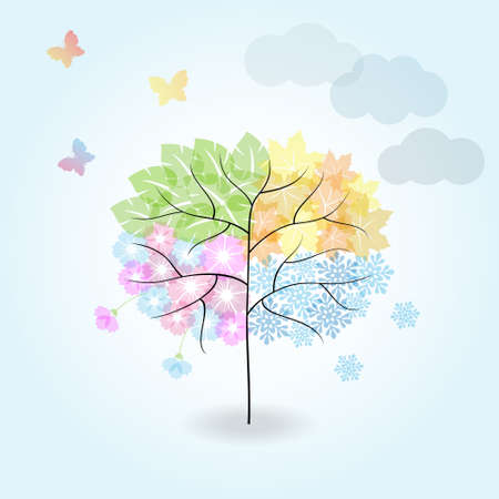 Four Seasons Tree: spring, summer, autumn, winter.Cartoon illustration representing the seasons cycle.